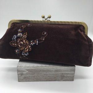 Vintage Express Velvet-Beaded Brown Clutch